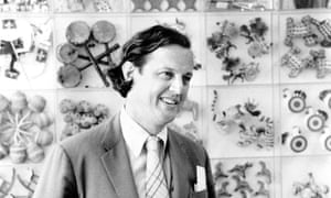 Ivan Chermayeff standing in front of a collection of toys in the mid-1970s.