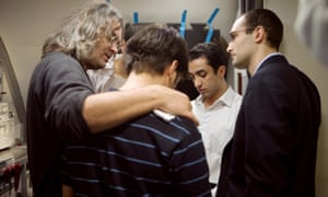 Paul Greengrass ( left) and Khalid Abdalla (right) on set on United 93.
