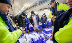 Sales at Peterhead fish market in Scotland.