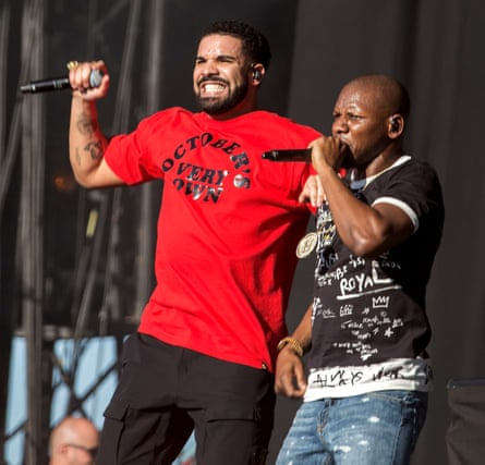 Drake performing with Giggs at Reading festival, August 2017.