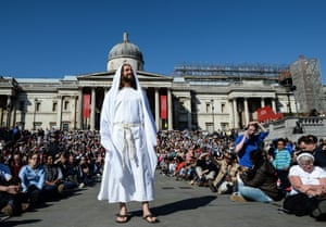 Actor James Burke-Dunsmore from the Wintershall Charitable Trust plays Jesus in an open-air performance of The Passion of Jesus in Trafalgar Square, London