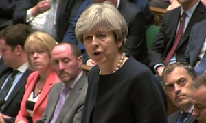 Theresa May giving a Commons statement on the Grenfell Tower fire.