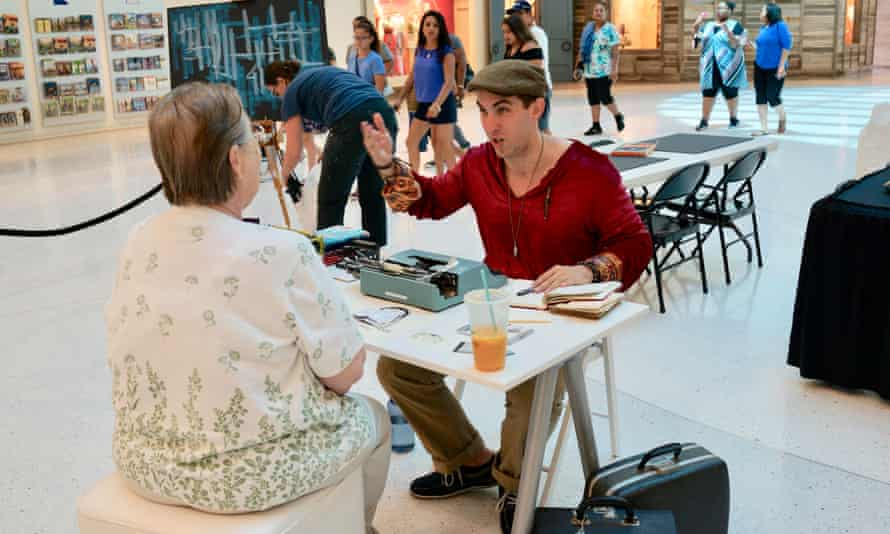 Poet in residence Brian Sonia-Wallace in action at The Mall of America