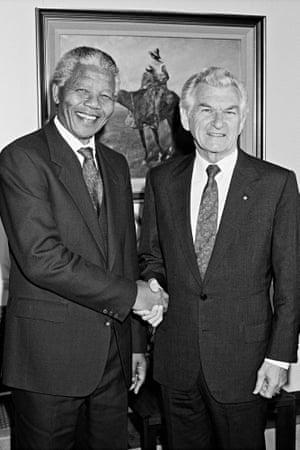 Bob Hawke with Nelson Mandela in October 1990.