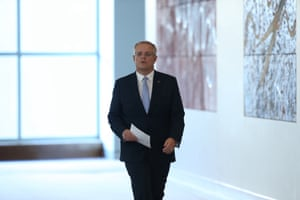 Scott Morrison in the mural hall at Parliament House
