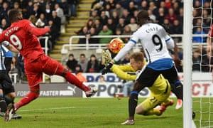 Liverpool's Christian Benteke hits a shot over the bar