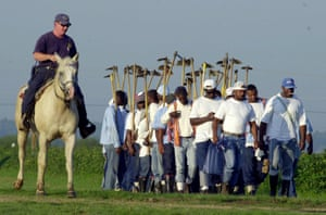 Prisoners head out on farm labour duty at the state penitentiary in Angola, Louisiana.