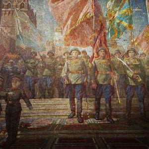 "A mosaic celebrating the end of the second world war hangs in the entrance of Dobryninskaya station. The walls of many stations are adorned <a href=""http://www.theguardian.com/artanddesign/gallery/2015/oct/31/moscows-metro-stations-in-pictures"">ornate works of art</a> <br>"