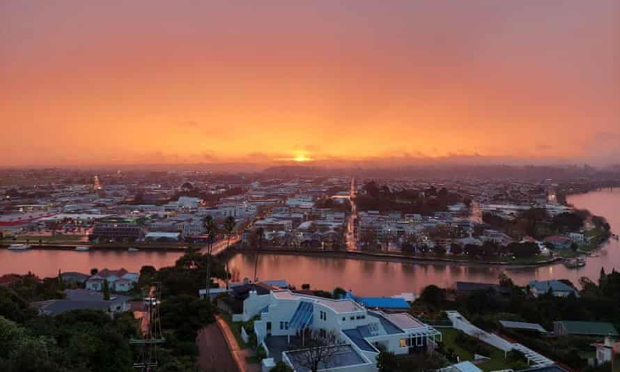 View of Whanganui, New Zealand from the Durie Hill elevator office at sunset