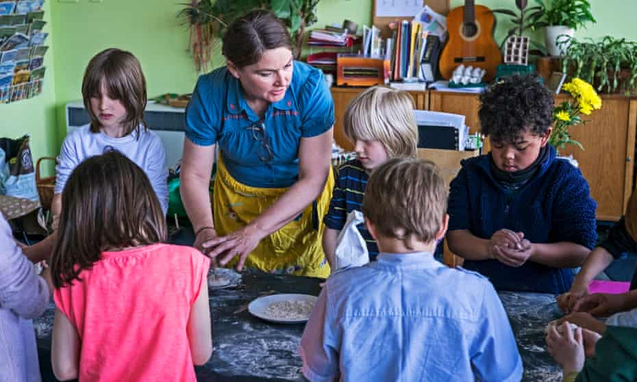Maria Woolley with her class at the Iona school in Nottingham