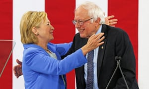 Hillary Clinton and Bernie Sanders at an event in Portsmouth, New Hampshire on 11 July 2016.