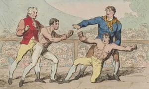 illustration of the boxing match between mendoza and humphreys at stilton huntingdonshire in may 1789