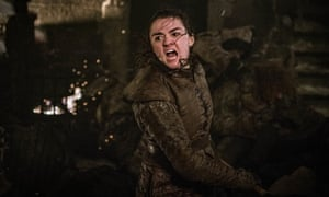 All manner of mayhem ... Arya takes on the zombie army in Game of Thrones.