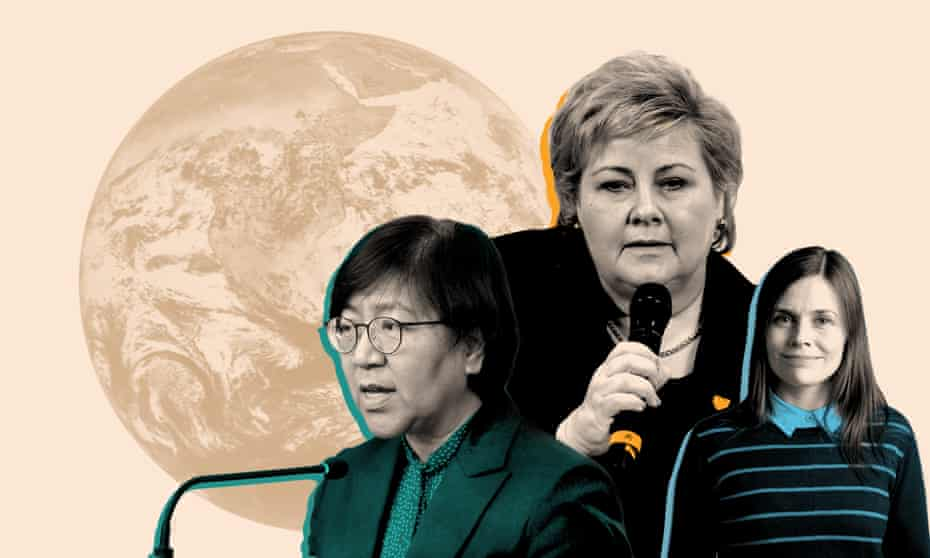 From left; the director of the South Korean Centers for Disease Control, Jung Eun-kyeong, Norway's prime minister Erna Solberg, and the prime minister of Iceland, Katrín Jakobsdóttir.