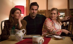 'She let us put her in our show' ... Rob Delaney and Sharon Horgan with their Catastrophe co-star Carrie Fisher (right). Photograph: Ed Miller/Channel 4