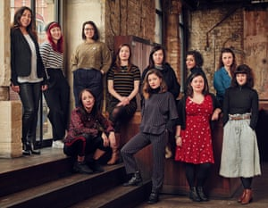 Back row from left: Sita McIntosh, COO of WhatsOnStage; Abbi Greenland, RashDash theatre company; Pippa Sa, Bechdel campaign and podcast; Gina Abolins, Out of Joint theatre company; Vicky Featherstone, artistic director, Royal Court; Meera Syal, writer and actor; Lucy Kerbel, director and Tonic founder. Front row from left: Rachel De-lahay, playwright; Steffi Holtz, Out of Joint; Beth Watson, Bechdel; Helen Goalen, RashDash. Hair and makeup: Dani Richardson. Shot on location at royalcourttheatre.com.