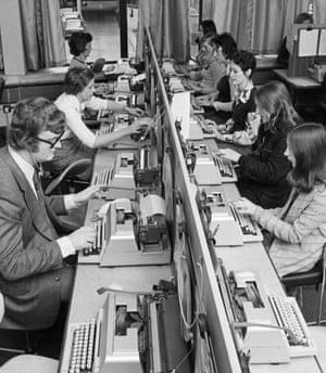 Lining up a key jobA bank of students concentrate on the task before them at a typing school in London in the 1970s