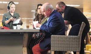 Alan Jones and Peta Credlin at Harvey Norman