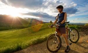 A mountain biker at sunset in Boulder, Colorado.
