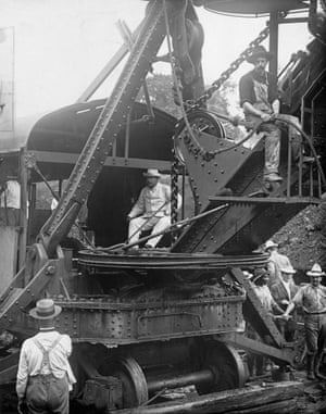 US president Theodore Roosevelt in a construction vehicle in the Canal Zone in 1906.