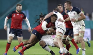 Kyle Sinckler carries the ball for England during their victory against the United States.