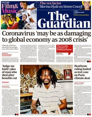 Guardian front page, Friday 28 February 2020