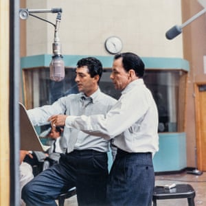 Dean Martin and Frank Sinatra at Capitol Tower studio B , Los Angeles, in October 1958, during the sessions for Martin's Sleep Warm LP