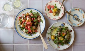 Watermelon, charred feta and bread salad with mint