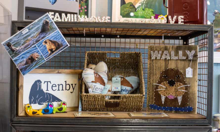 Wally-related merchandise is seen for sale in the Nook Craft gift shop in Tenby, Wales.