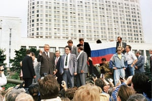 Boris Yeltsin, pictured to left, speaks on top of an armoured vehicle in Moscow, August 1991.