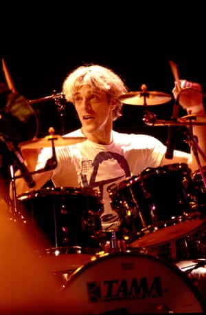 Stewart Copeland of the Police on the Amnesty International benefit tour in Chicago in 1986.