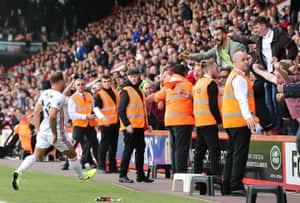 Sheffield United's Billy Sharp celebrates scoring his 88th minute equaliser with the fans to draw the game against Bournemouth at the at Vitality Stadium.