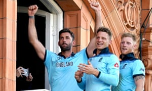 England's Liam Plunkett, Jos Buttler and Ben Stokes take in the atmosphere on the Lord's balcony