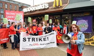 Staff on strike at McDonald's over low wages