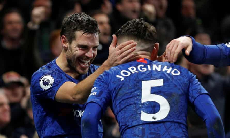 César Azpilicueta celebrates scoring for Chelsea against Arsenal with Jorginho in January 2021