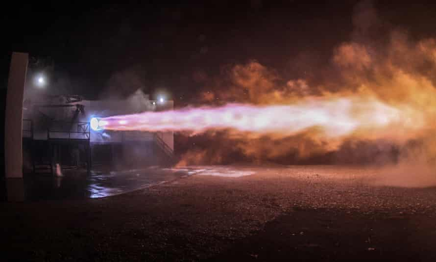 A test firing of SpaceX's engine.