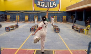 Players on a tejo court in Bogotá, Colombia.