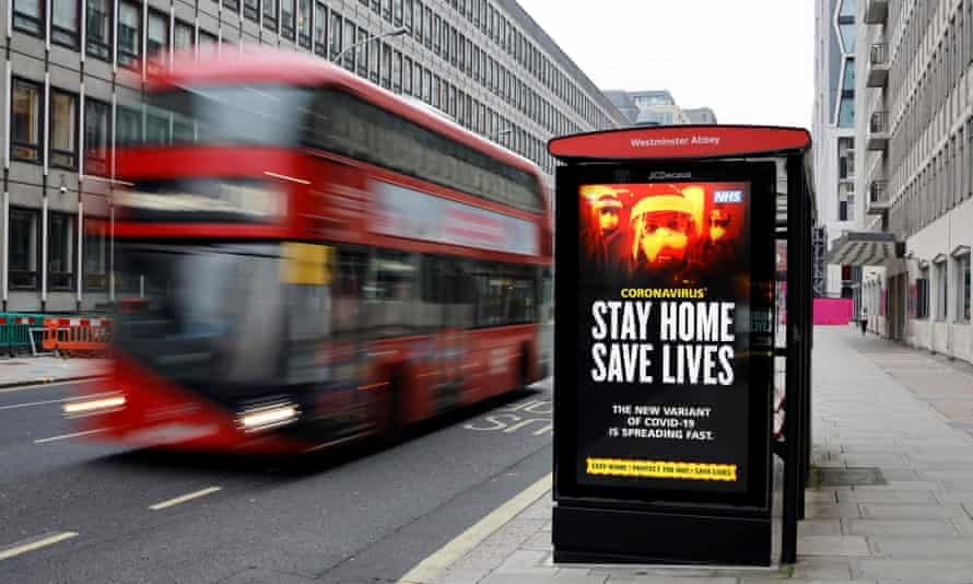 A bus stop in Westminster – ONS figures show bus drivers have among the highest death rates in the pandemic.