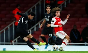 Eintracht Frankfurt's Daichi Kamada fires in their second goal.