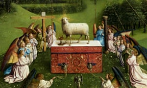 A detail of the restored original of the Adoration of the Mystic Lamb altarpiece (1432) by the brothers and Flemish artists Hubert van Eyck and Jan van Eyck at the Museum of Fine Arts Ghent (MSK) in Ghent.
