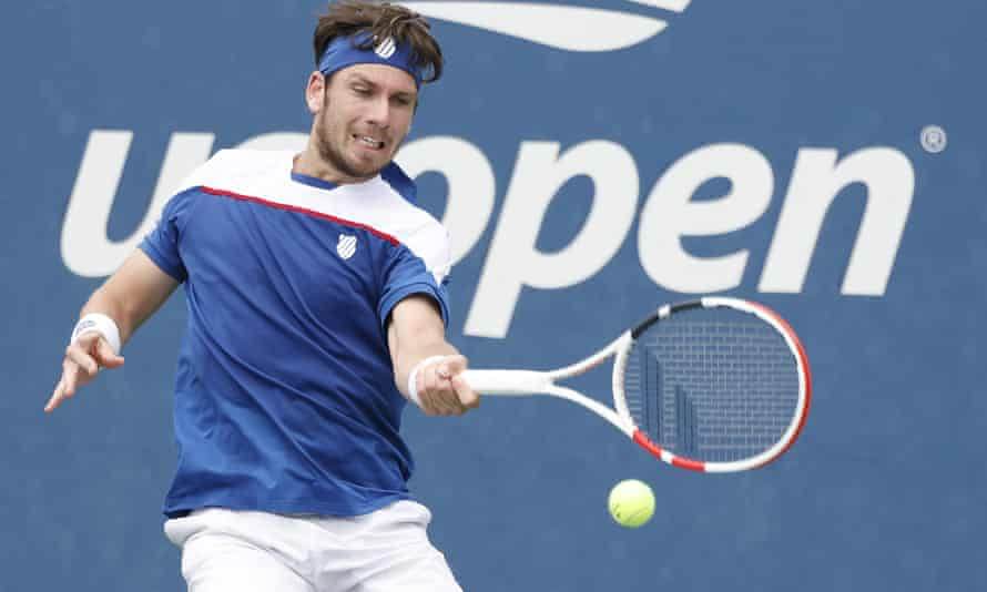 Cameron Norrie hits a return to Diego Schwartzman en route to a five-set victory over the Argentinian in the first round at Flushing Meadows.