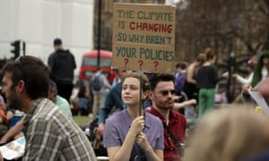 Protesters at the Extinction Rebellion climate demonstrations in London, April 2019