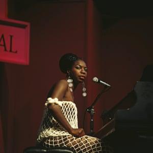 Nina Simone performing at Newport Jazz festival in 1968.