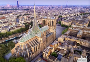Paris-based architect Vincent Callebaut's Notre-Dame roof that generates energy and contains an aquaponic farm.