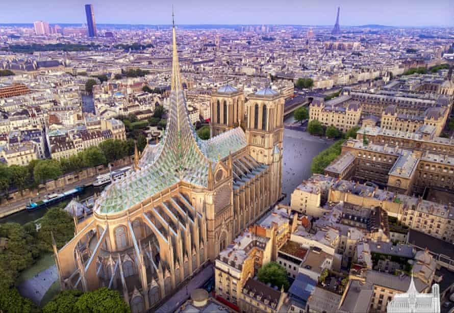 Paris-based architect Vincent Callebaut's Notre-Dame roof that generates energy and contains an aquaponic farm.