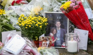 Floral tributes are left close to where Jo Cox was killed in Birstall.