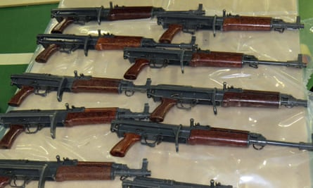 Part of a haul of east European guns smuggled into the UK in 2016.