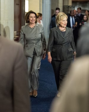 That was then: Nancy Pelosi (left) and Hillary Clinton on Capitol Hill, June 2016