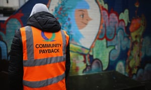 Offenders do manual work as part of a Community Payback Scheme in Manchester in 2015.