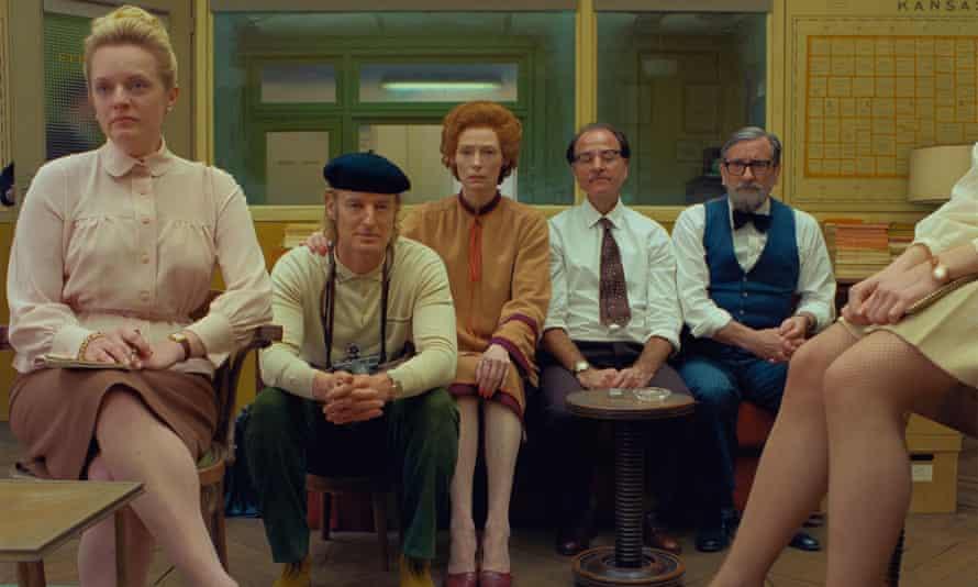 Elisabeth Moss, Owen Wilson, Tilda Swinton, Fisher Stevens and Griffin Dunne in The French Dispatch.
